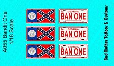 1/18 Scale Waterslide Decals: Smokey and the Bandit BAN ONE License Plates