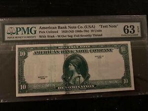 U.S. Paper money. Pmg 63 Test Note. RARE