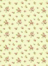 Wallpaper English Cottage Mini Rose Toss  Pink, Red, Green on Cream Background