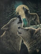 NEW Picture Wolf Song Wall Plaque by Lisa Parker 25 cm x 19 cm