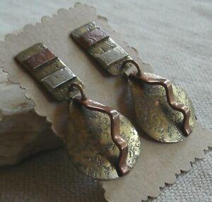 Vintage Marjorie Baer Textured Brass Copper Silver Pierced Statement Earrings