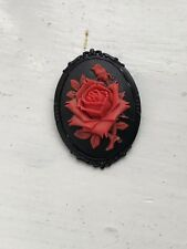 Large Red Rose Cameo Brooch Pin Gothic Goth
