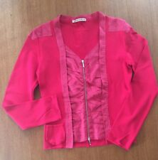 Aldo Martins Red Linen Mix Knitted Zipped Patch Jacket Style Cardigan UK12 New