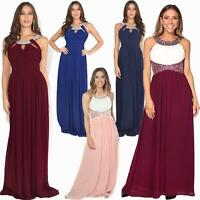 Women Formal Diamante Wedding Cocktail Dress Long Ball Gown Prom Maxi Party 8-18