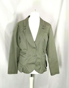 Khaki Green Fitted 100% Cotton Jacket Size 18 Lined Debenhams Collection