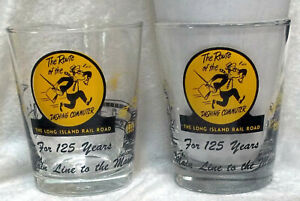 Long Island Railroad Drink Glasses ROUTE OF THE DASHING COMMUTER LIRR 125 Years