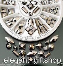 Square Round Oval Nail Art Decoration Glitter Rhinestone Chrome Stud+Wheel #ES17