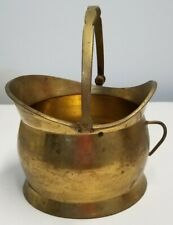 Vintage Brass Coal Scuttle Bucket With Handle Made In India