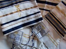 "X-Large Messianic Black and Gold Tallit Prayer Shawl 72"" x 42"" in Bag New"
