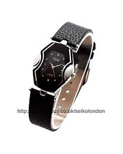 OMAX DAMEN schwarz / Silber Zifferblatt Armbanduhr, Band, Seiko (Japan) Uhrwerk