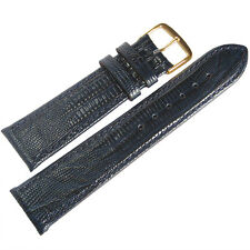 18mm Fluco Blue Teju Lizard-Grain Leather GOLD Buckle German Watch Band Strap