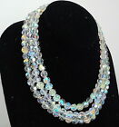 Vintage Signed Austria Aurora Borealis Crystal Fashion 3 Strand Rare Necklace