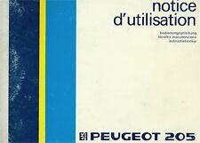 1986 Peugeot 205 Manual, Instructies, Notice d'Utilisation, Bedienungsanleitung