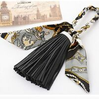 Scarf Fashion Women Silk Tassel Satin Key Ring Key Chain Keychain PU Leather