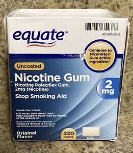 Equate Stop Smoking Aid Nicotine Gum - 220 pieces, 2 mg exp 2/22