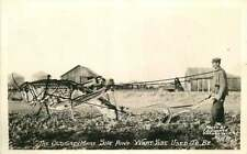 Conard Exaggerated Real Photo Postcard Grasshopper Pulling Farmer's Plow - 1930s