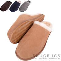 SNUGRUGS Mens / Gents Luxury Full Sheepskin Slipper / Mule with Rubber Sole