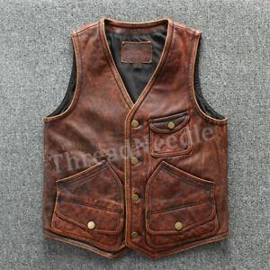 Mens Real Leather Motorcycle Antique Brown Genuine Biker Leather Vest