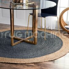 Iguazu Natural Woven Jute Grey Braided Round Rug - 3 Sizes DELIVERY