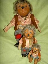 "Steiff, Germany, ""MECKI"" FAMILY of 3 male Hedgehog vintage dolls 10"", 7"" & 5"""