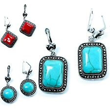 Fashion Turquoise Red Faux Marble Stud Art Deco Earrings Womens Jewellery Studs