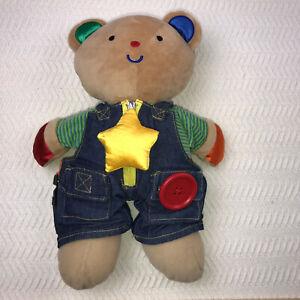 "Melissa Doug Kids Dress Me Teddy Bear 14"" Stuffed Animal Bear Learn Motor Skills"