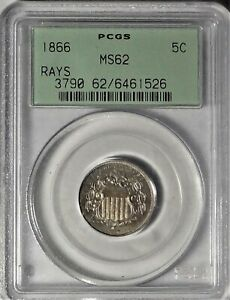 1866 5c PCGS MS 62 OGH Choice Uncirculated Shield Nickel with Rays Type Coin