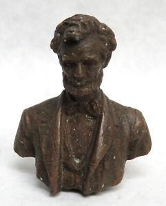 "CIRCA 1909 MINIATURE BRONZE PRESIDENT ABRAHAM LINCOLN 1 3/4"" BUST"