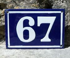 N° 67. French Antique House Number. Enamel Plate. Blue & Withe.