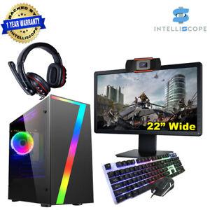 """Fast Gaming PC 22"""" Bundle Intel Quad i5 16GB choose SSD+HDD WIN10 4GB GTX1050Ti"""