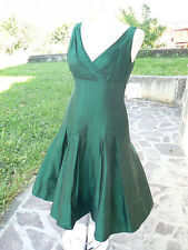 NUOVO Suzi Chin vestito donna in seta shantung verde