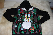 Men's Quiksilver jacket hoodie UGLY L reversible Torqued Christmas snowman RARE