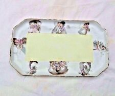 ANTIQUE PRUSSIA DECORATED WITH KIDS PORCELAIN VANITY TRAY
