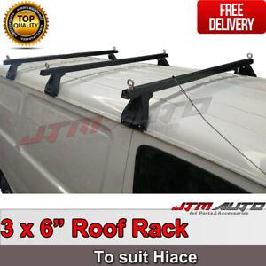 3 X Black Heavy Duty Adjustable Roof Racks Suitable For Toyota Hiace 1993-2004