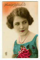 1920's French Deco Lovely PRETTY YOUNG LADY tinted photo postcard