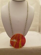 Silver 15 Inch Chain Necklace With Red/Yellow Circle Pendant