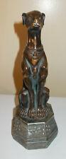 Greyhound Dog Sitting On Pedestal Figurine