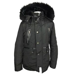 Terance Kole Size 14 Premium Collection Black Padded Faux Fur Hooded Jacket