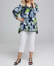 Bohemian Floral Blue & Green 3/4 Sleeve-Embroidery Tunic/Top Size 16 RRP $109.95