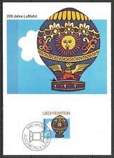 Liechtenstein Maximum Card 1983 - Aviation Bicentenary Hot Air Balloon