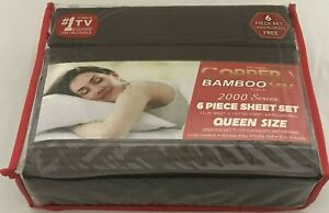 Infused Copper X Bamboo 2000 Series 6pc Queen Size Series Sheet Set Brown