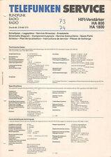 TELEFUNKEN Service-ha 800 ha 1800-Schema Elettrico-situazione piani-b2012