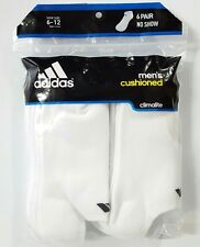 Men's Adidas Climalite Cushioned No Show Athletic Socks 6 Pair Size 6-12 White