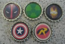 5 x Super Hero Symbols Flattened Bottle Caps - Magnets, Hair Bows, Necklaces