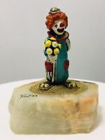 Vintage Signed Ron Lee Clown Holding Flower And Wrapped Gift 1983 Figurine MINT