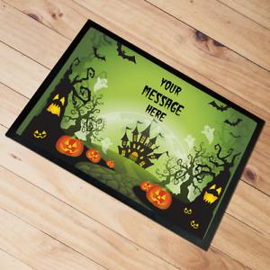 Personalised Halloween Door Mat floor mat Grey Castle 60 x 40 cm Add Any text