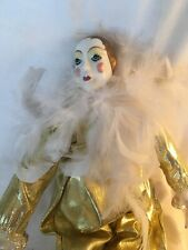 Vintage Jester Doll Victorian Shabby Chic Gold Silk Fabric Feathers Bow