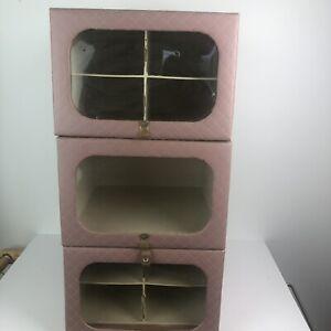 Vintage Model Home Closet Organizer Storage Box Stackable MCM Vinyl Pink