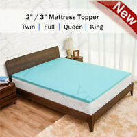 Soft Gel Memory Foam Mattress Topper Bed Pad 2''/3'' Queen King TwinXL Full Size