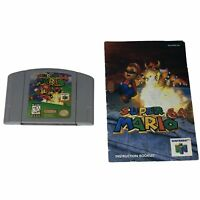 Super Mario 64 (Nintendo 64, 1996) Cartridge and Manual Tested Works